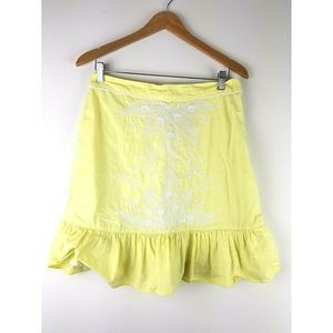 Floreat Anthropologie Skirt Embroidery 8 M Yellow
